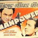MANPOWER Original Half-Sheet Poster EDWARD G. ROBINSON Marelend Dietrich