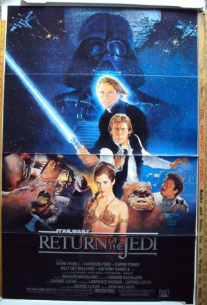 "RETURN OF THE JEDI Original ""B""  Movie POSTER Star Wars Cast Artwork"