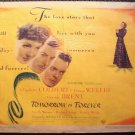 TOMORROW IS FOREVER Poster CLAUDETTE COLBERT Film Noir Orson Welles VINTAGE 1946