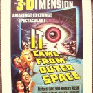 IT CAME FROM OUTER SPACE Sci-Fi 3-D Classic Cult Poster Great 1950's Drive-In