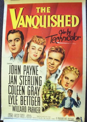 VANQUISHED  John Payne Vintage linen backed WESTERN Poster 1953  Coleen Gray