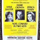 NOEL COWARD In Two Keys THEATRE FLYER Ann Baxter JESSICA TANDY Hume Cronyn