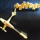 BEATLEMANIA Original GOLD  Pin Airplane PROMO BEATLES Broadway Theatre Souvenir