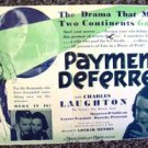MAUREEN O'SULLIVAN Original PAYMENT DEFERRED photo Daybill CHARLES LAUGHTON 1932