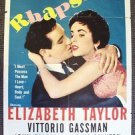 ELIZABETH TAYLOR Original RHAPSODY 1-Sheet Original Movie POSTER  MGM