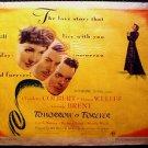 TOMORROW IS FOREVER Original 1/2 Sheet Poster CLAUDETTE COLBERT  Film Noir