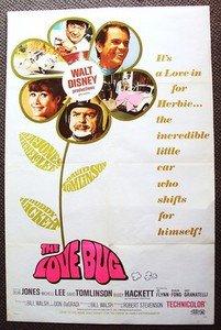 HERBIE The LOVE BUG Volkswagen Beetle Original WALT DISNEY 1-Sheet POSTER 1969