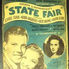 STATE FAIR Rodgers and Hammerstein SHEET MUSIC 1945 JEAN CRAIN Vivian Blaine