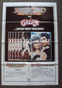 GREASE  SATURDAY NIGHT FEVER Original 1-Sheet POSTER Olivia Newton-JOHN TRAVOLTA