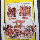YOURS MINE AND OURS Window Card POSTER Frank Frazetta LUCILLE BALL Henry Fonda