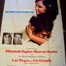 ELIZABETH TAYLOR The ONLY GAME IN TOWN Huge  FRENCH Movie POSTER Warren Beatty