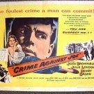 CRIME AGAINST JOE  1/2- Sheet FILM-NOIR Poster JULIE LONDON John Bromfield 1956