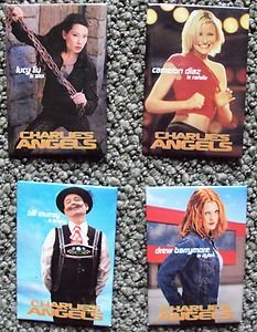 CHARLIE'S ANGELS PINBACK Pins BUTTONS Set 4 Cameron Diaz DREW BARRYMORE Lucy Liu