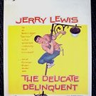 JERRY LEWIS The DELICATE DELINQUENT Original Window Card POSTER Comedy PARAMOUNT