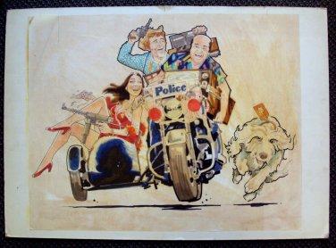 ROBERT TANENBAUM Original Movie ART Hot Stuff SUZANNE PLESHETTE Jerry Reed OOAK