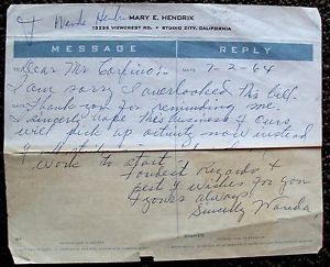 WANDA HENDRIX Original Signed AUTOGRAPH Letter TELEGRAM Mary E. Letterhead 1964