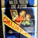 CLAUDETTE COLBERT The SECRET HEART 1-SHEET Poster JUNE ALLYSON SOUTH AMERICA '45