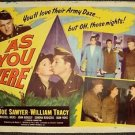 AS YOU WERE Original Army 1/2 Sheet Movie POSTER Joe Sawyer WILLIAM TRACY 1951