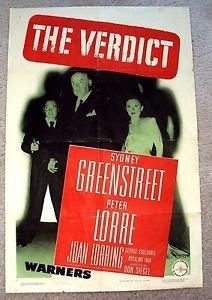 SYDNEY GREENSTREET The VERDICT 1-Sheet Movie Poster PETER LORRE Film-Noir 1946