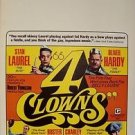 4 CLOWNS LAUREL AND HARDY Mint WINDOW CARD Poster CHARLEY CHASE Buster Keaton 69