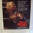 HAPPY BIRTHDAY TO ME Original Tri-Fold Movie POSTER Horror GORE SLASHER 80's F!