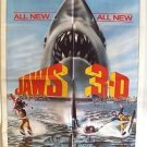 JAWS 3-D Original 1-Sheet Movie POSTER Universal SHARK 1983 Early 3 Dimensional