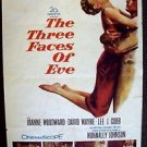 JOANNE WOODWARD The THREE FACES OF EVE Original 1-Sheet MOVIE POSTER David Wayne