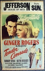 GINGER ROGERS Tender Comrade ROBERT RYAN Original WINDOW CARD Poster RKO Picture
