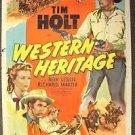 TIM HOLT Original WESTERN HERITAGE 1-Sheet Movie Poster Cowboy NAN LESLIE 1948