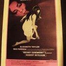 ELIZABETH TAYLOR Liz SECRET CEREMONY Mia Farrow DRIVE-IN Poster ROBERT MITCHUM