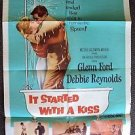 IT STARTED WITH A KISS Original 1-Sheet Poster GLENN FORD Debbie Reynolds 1959
