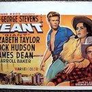 GIANT Western ROCK HUDSON  Elizabeth Taylor JAMES DEAN Poster BELGIUM Reproduct