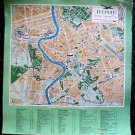 ROME Road Map Linen-Backed TWA Airlines ITALY 1950's Castles Places if INTEREST