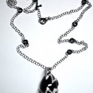 MADE IN ITALY WHITE GOLD CHAIN AND PENDANT WITH ONYX STONE AND BLACK & WHITE DIAMONDS