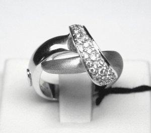 MADE IN ITALY VALENZA 18K WHITE GOLD RING, WITH 0.38 kt DIAMONDS LUCA PREZIOSI