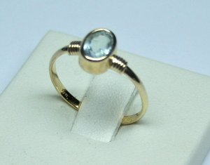 MADE IN ITALY VALENZA 18K YELLOW GOLD RING WITH 0.92 KT AQUAMARINE LUCA PREZIOSI