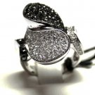 MADE IN ITALY VALENZA 18K WHITE GOLD RING WITH 1.65 KT DIAMONDS BLACK & WHITE, NEW AGE