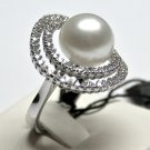 MADE IN ITALY VALENZA 18K WHITE GOLD RING, WITH CENTRAL AUSTRALIAN PEARL AND 0.80 kt DIAMONDS, new