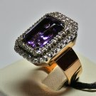 MADE IN ITALY VALENZA 18K GOLD RING, WITH A BIG 7.75 KT AMETHYST AND 0.95 KT DIAMONDS