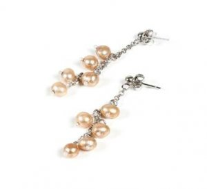 MADE IN ITALY STERLING SILVER 925  WOMAN'S EARRINGS WITH CHAMPAGNE PEARLS