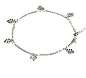 MADE IN ITALY STERLING SILVER 925 ANKLET WITH SILVER HEART CHARMS