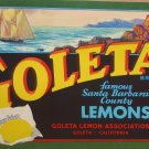 1930&#39;s Goleta Sunkist Lemon Crate Labels 10 x 11&quot;