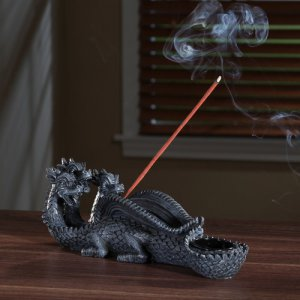 Elegant Expressions by Hosley 3 Headed Dragon Incense Stick Cone Burner Holder