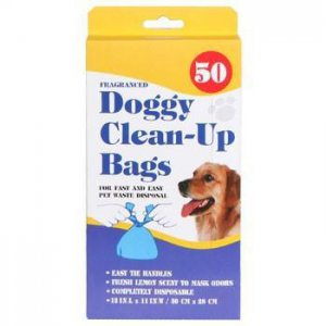 "NIB Lemon Fragranced Disposable Doggy Dog Waste Clean Up Bags 100 Count 12""x11"""