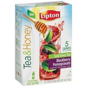 NEW Lipton Beverage Tea & Honey Green Tea to Go Blackberry Pomegranate Iced Tea
