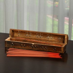 Elegant Expressions by Hosley Wood Box Incense Stick Storage Holder Burner