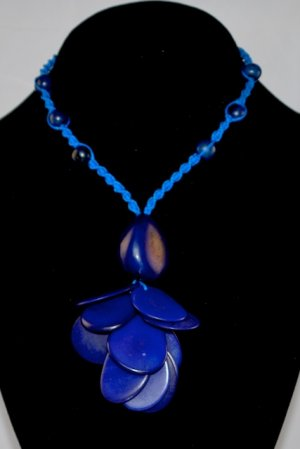 Handmade Indigo Blue Tagua and Acai Seeds Beaded Petals Necklace