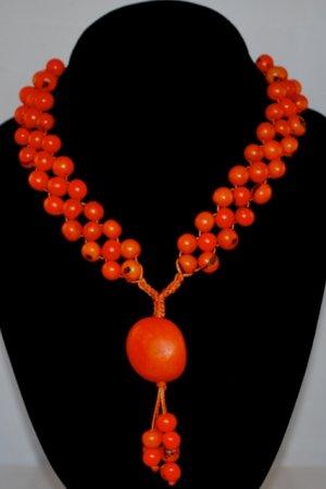 Bright Orange Handmade Acai Seeds Beaded Diva Necklace