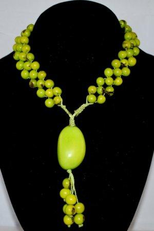 Bright Green Handmade Acai Seeds Beaded Diva Necklace