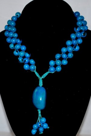 Turquoise Blue Handmade Acai Seeds Beaded Diva Necklace